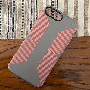 speck iphone 6s/7/8 plus case coral and gray